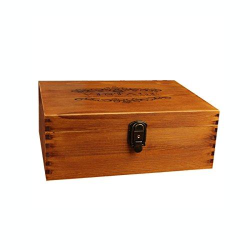 FOKN Schloss Mit Massivholz Aufbewahrungsbox Zapfen Große Hölzerne Kreative Finishing Box Antiken Schmuck Aufbewahrungsbox,A-33cm*23.5cm*12.5cm