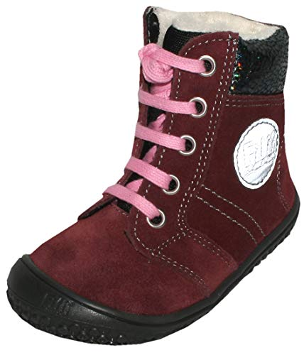 Filii Barefoot Winterstiefel mit TEX Membran & Wollfutter in Berry *Everest* Veloursleder 18921 (21 EU)