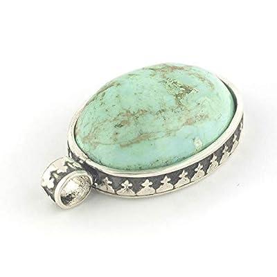 Pendentif turquoise vert de forme ovale serti d'argent 925, 21x17x8 mm