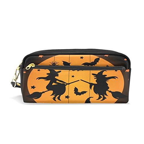 s Federmäppchen Reißverschluss PU Leder Pen Bag Kosmetik Make-up Tasche, Schreibwaren Tasche Tasche großes Fassungsvermögen (Einfache Hexe Halloween-make-up)