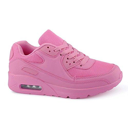 Damen Sneaker Sportschuhe Turn Lauf Neon Glitzer Freizeit Fitness Low Schuhe Berlin-Pink