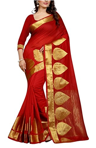 Reyansh Fashion Women's Silk Saree (Red)