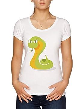 Vendax Dibujos Animados Serpiente Camiseta Mujer Blanco