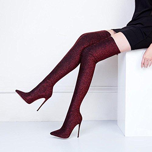 Best 4U® Scarpe invernali da donna Calze in tessuto elastico Tacchi a spillo Stivali morbidi Stivali a punta stile casual Green