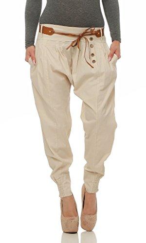 Fashion4Young 4849 Legere Damen Bundfaltenhose Hose Haremshose Businesshose Damenhose m. Gürtel (beige, S=36)