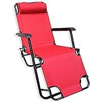 كرسي وسرير 2 في 1 للرحلات والتخييم قابل للطي - أحمر