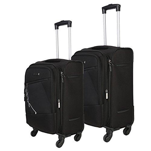 Nasher Miles Bogota Expander Soft-Side Luggage Set of 2 Black Trolley|Travel|Tourist Bags (55 & 65 Cm)