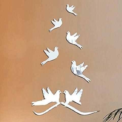 Pigeon Kann Entfernt Werden Kristall Dreidimensionale Acryl Spiegel Wandaufkleber Hauptdekoration
