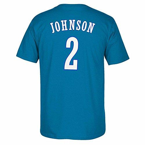 adidas Larry Johnson Charlotte Hornets NBA Herren blau Originals Player Namen und Nummer Retro Jersey T-Shirt, Herren, blau
