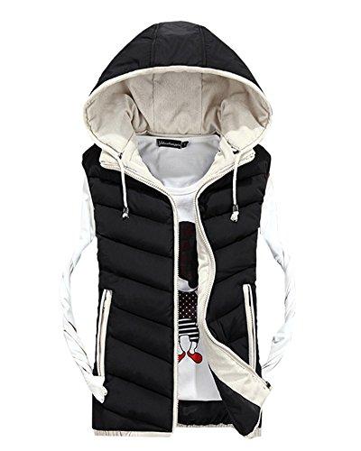 Herren Freizeit Stitching Jacke Draußen Sport Weste Mit Kapuze Weste Mantel Schwarz S