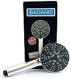 BADANIS® - Premium - Duschkopf 5 Strahlarten ⌀ 10,5 cm, wassersparende Handbrause mit Antikalk Silikonnoppen, Duschbrause für kalkhaltiges Wasser - Brausekopf aus Chrom für Badewanne & Dusche