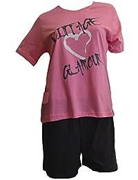 Damen Schlafanzug kurz, Shorty ,100% Baumwolle Öko-Tex Standard 100