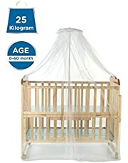 Mee Mee Baby Wooden Cot with Cradle, Swing and Mosquito Net, Clear Wood