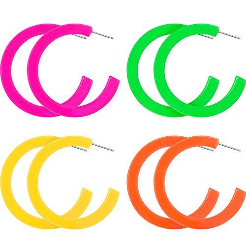 4 Paar 80 Jahre Damen Retro Ohrringe Geometrische Baumeln Neon Ohrringe für Party Kostüm Zubehör (Farbe Set 3)