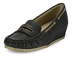 Flat N Heels Womens Black Loafers - 7 UK