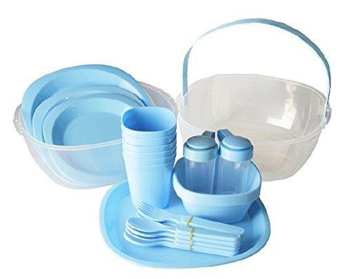 Set di stoviglie GMMH colore blu picnic Set piatti e cestino per persone con 6 48 pezzi