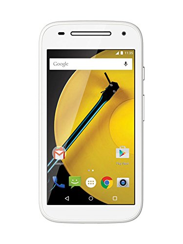 Motorola Moto E 2. Generation Smartphone mit 4G LTE (11,4 cm (4,5 Zoll) qHD-Touchscreen-Display mit 540 x 960 Pixel, 5 Megapixel Kamera, 1,2GHz Quad-Core-Prozessor, 1GB RAM, 8GB interner Speicher, Micro-SIM, Android 5 Lollipop) weiß