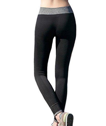 charismau femmes Legging pour femme Motif Sportif de Course Yoga extensible pour femme pantalon pour femme Noir - Noir