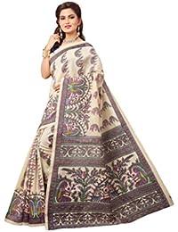 Tagline Women's Cotton Silk Saree With Blouse Piece (Tag80011_White)