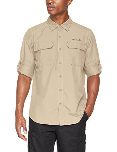 Columbia Camisa de Excursionismo de Manga Larga para Hombre, Silver Ridge II Long Sleeve Shirt, Beige (Fossil), XL