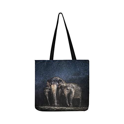 elefanti tra le stelle Family of Beautiful Anim tela Tote Handbag Crossbody borse borse per uomini e donne shopping Tote