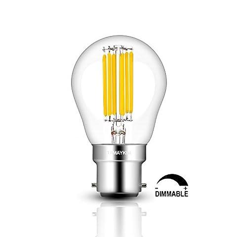 TAMAYKIM 6W Dimmable Edison Style Antique LED Filament Globe Light Bulb, 3000K Soft White 600LM, B22 Bayonet Cap, G45 Globular Shape, 60W Incandescent Equivalent