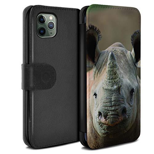 Hülle Für Apple iPhone 11 Pro Wilde Tiere Nashorn Design PU Leder Tasche Brieftasche Schutz Handyhülle Flip Case