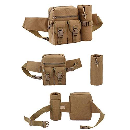 UEK Hüfttasche Multi-Function Gürteltasche Wasserabweisende Bauchtasche Flache Taille Tasche mit Flaschenhalter zum Sport und Reisen B