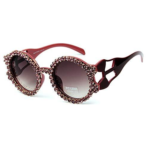 LKVNHP Runde Sonnenbrille Frauen Neue hohlen Rahmen Strass Sonnenbrille weiblich schwarz braun oculos uv400rot