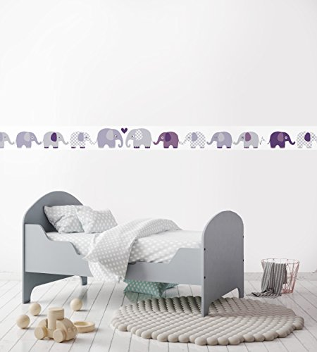 Lovely Label Bordure Selbstklebend Elefanten Wandbordure