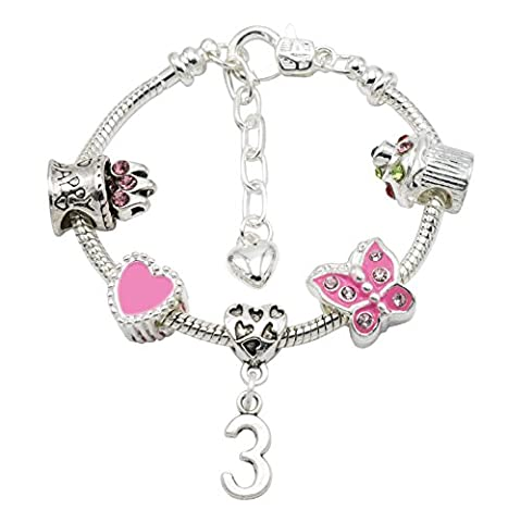 Girl's Silver Plated Birthday Charm Bracelet with Gift Pouch - Ages 1- 11 Available (3rd Birthday)