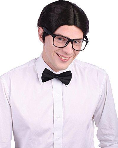 Herren Weihnachten Party Accessoire schuljnge künstliches Haare Nerd Shorts falsch ()
