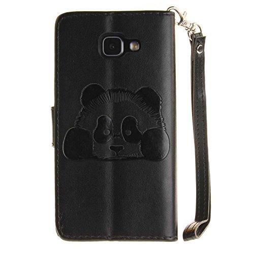 Guran® PU Leder Tasche Etui für iPhone 7 (4.7 Zoll) Smartphone Flip Cover Stand Hülle und Karte Slot Case-schwarz schwarz-panda