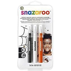 Snazaroo Set de 3 Rotuladores de Maquillaje Halloween, Color Negro, Blanco, Naranja