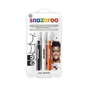 "Snazaroo Set de 3 Rotuladores de Maquillaje ""Halloween"", color negro, blanco, naranja"