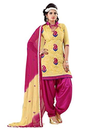 FadAttire Chanderi Patiala Salwar Kameez Dress Material-Yellow-FARL06