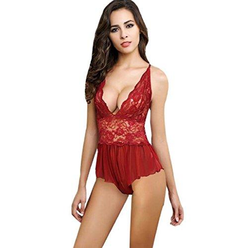 Sannysis Conjunto lencería ropa de dormir de volantes de encaje rojo