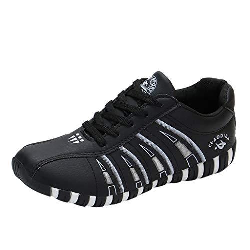 feiXIANG Mode Turnschuhe Sneaker Damen Flache Schuhe Frauen beiläufige Atmungsaktiv Sport Freizeitschuhe(Schwarz,35) - Im Board Freien Buchstaben
