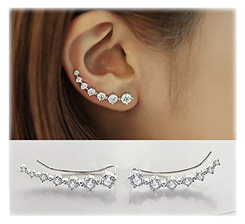 7 Cristales Ear Cuffs Hoop Climber S925 Sterling Pendientes