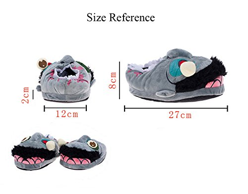 YOUJIA Adulte Chaussons animaux, Zombie Chausson en Peluche Chaud Pantoufle Hiver Indoor Chaussures Halloween Cosplay - Taille: 36-41 Gris