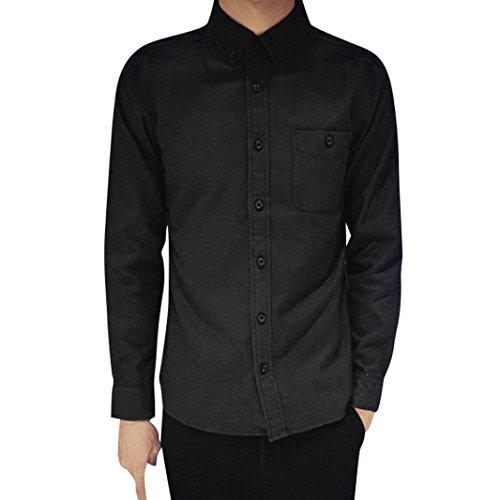 STRIR Camisa de manga larga Modelo Oxford para Hombre Caballero - Fiesta/Trabajo/Eventos importantes DJ2962 (Negro, XXXL)
