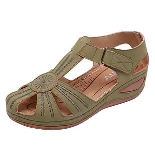 TMOTYE Damen Sommer Sandalen 2019 Sandalen rutschfeste Freizeitschuhe Atmungsaktive Romancan Sandalen Retro Sommerschuhe -