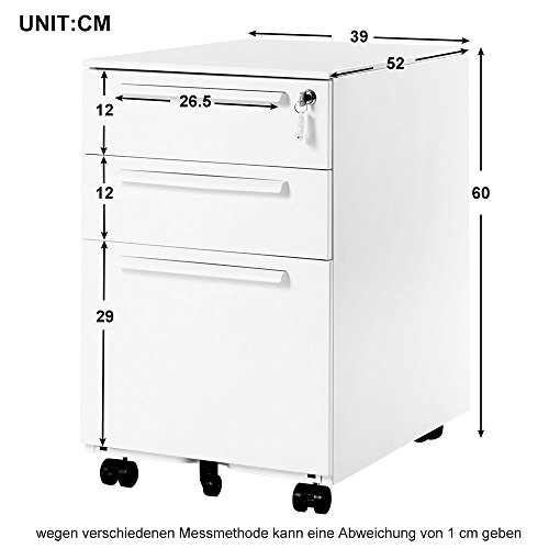 Rollcontainer abschließbar inkl. 3 Schübe, grundsolide Verarbeitung, Schreibtisch container Büromöbel,Schubladenschrank Metall, Büro Rollkontainer mit Schubladen, Hängeregistratur (Weiss A) - 3