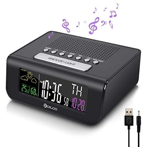 DIGOO Reloj Radio Despertador Digital, Digital Despertador con Radio FM, Función de snooze, Modo de Alarma Dual, Pronóstico del Tiempo, Temperatura Humedad Interior, Calendario, Alerta de baja energía