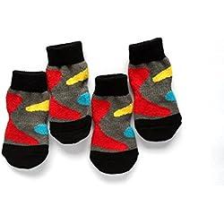 Calcetines de mascota,RETUROM Calientes 4pcs algodón antideslizante calcetines calientes de punto para gato perro de mascotas (S, Multicolor)