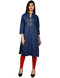 Om Trading Solid Blue Denim Kurti For Women