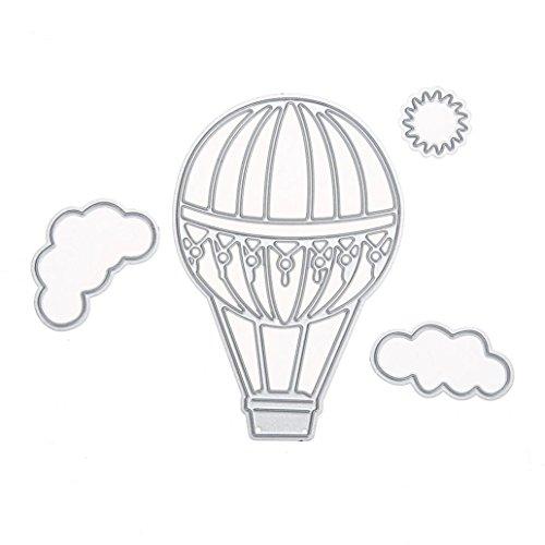 (zhouba Fire Ballon Cloud Sun Metall schneiden sterben Scrapbooking Craft DIY Foto Schablonen, Karbonstahl, silber, Einheitsgröße)