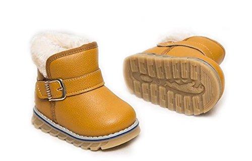 Arrowhunt Baby Junge Mädchen Einfarbig Kunstleder Winter Schuhe Schnee Stiefel Etikett 24 Gelb