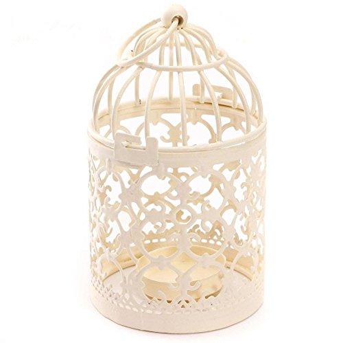 JUNGEN Hohler Kerzenständer Laterne Kerzenhalter Nostalgischer Deko Vogelkäfig Geschenk Metall Handwerk Ornamente 14*8 cm,Weiß