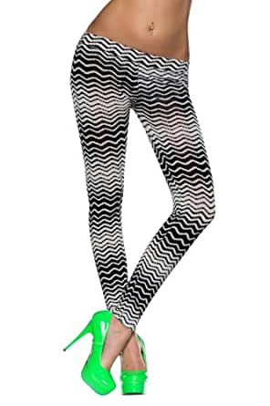 5809 Fashion4Young Damen Leggings aus feinem Stretch-Stoff Gr. 34 36 38 Schwarz Weiß
